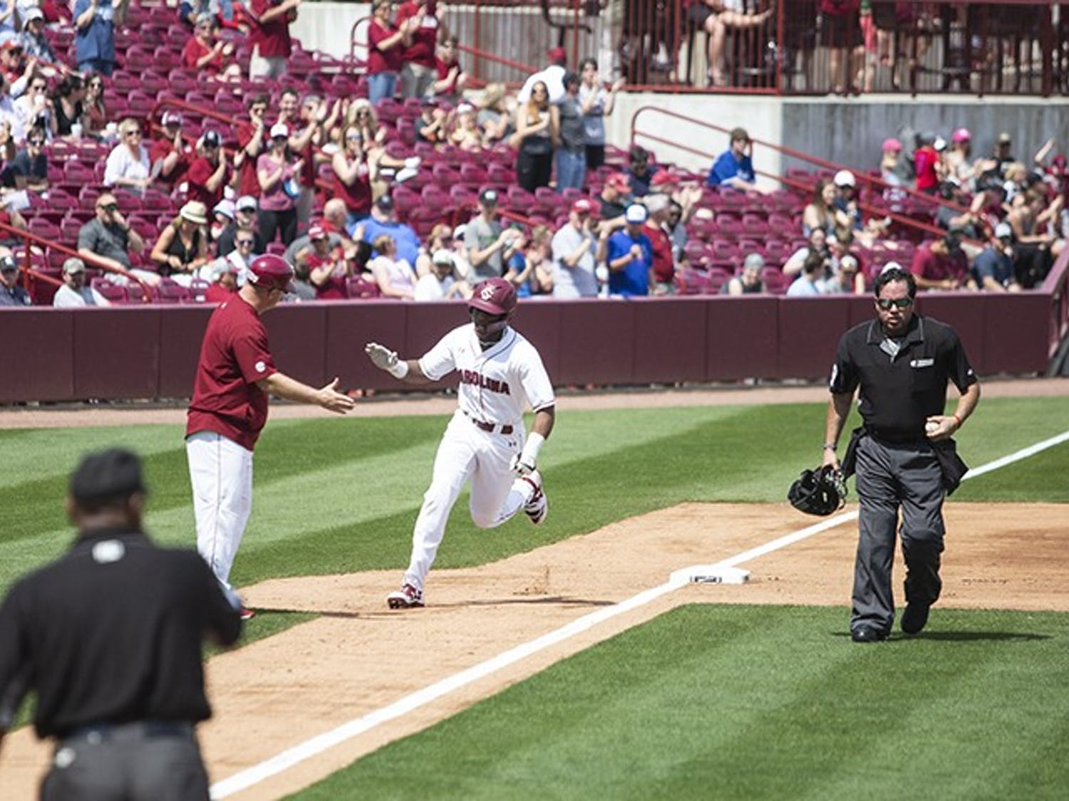 Freshman Ian Jenkins rounds third following a home-run hit during the Saturday game against Auburn at Founders Park.