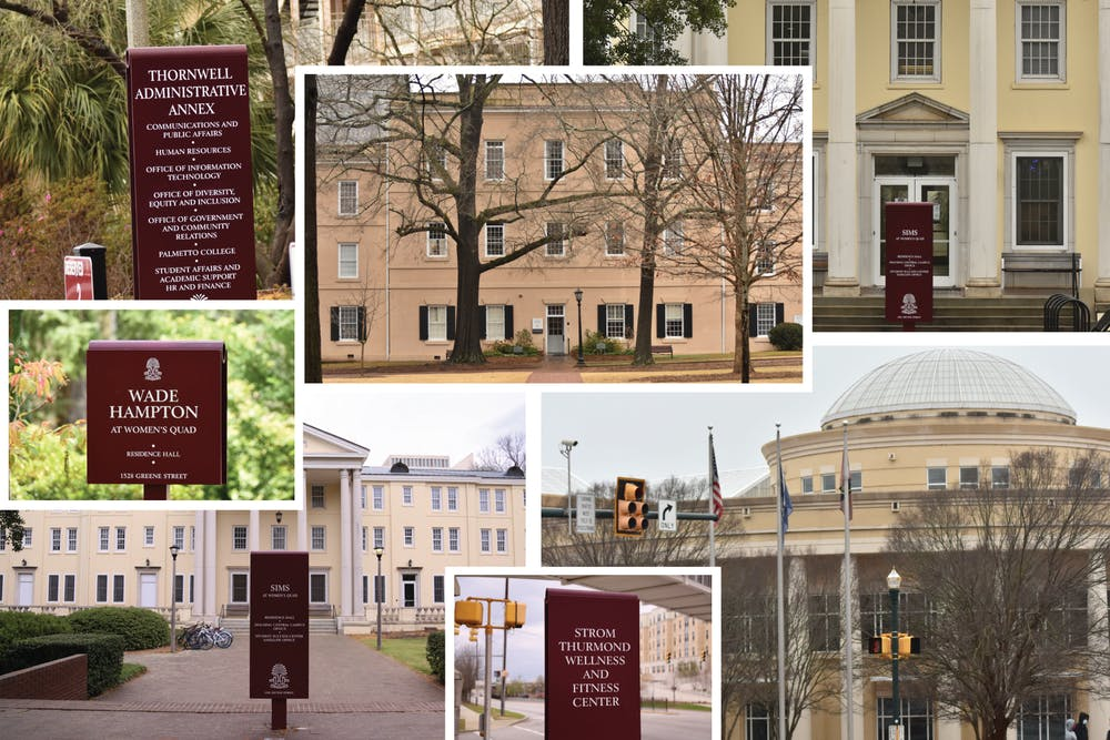 <p>A collage made up of buildings that are being considered for renaming on USC's campus.&nbsp;</p>