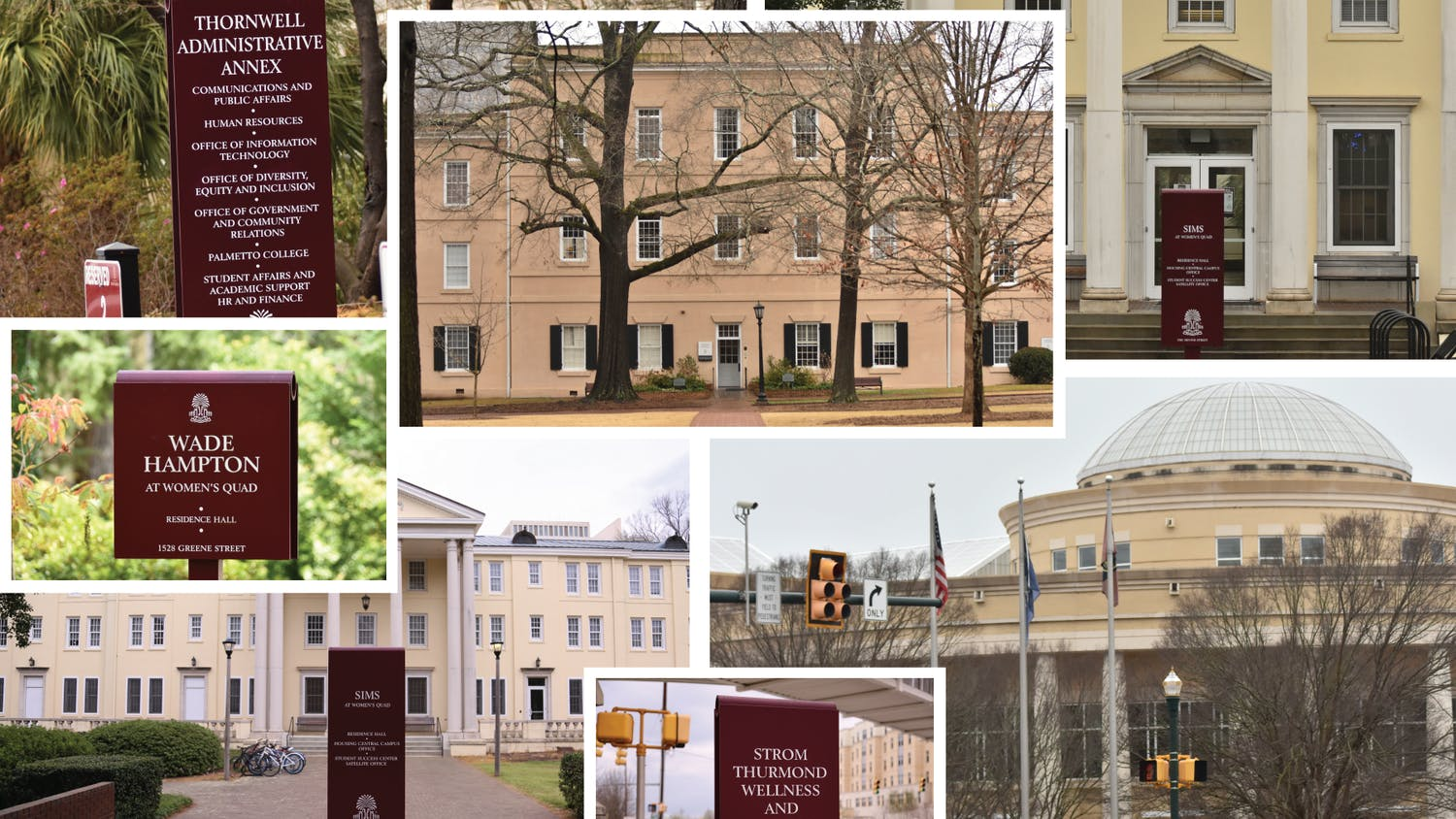A collage made up of buildings that are being considered for renaming on USC's campus.