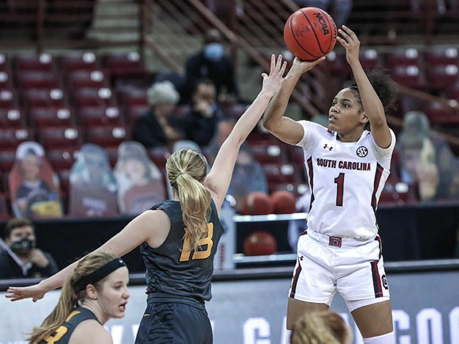 Sophomore guard Zia Cooke shoots over a defender in South Carolina's win over Missouri. The Gamecocks improved to 16-2 on the season following the win.