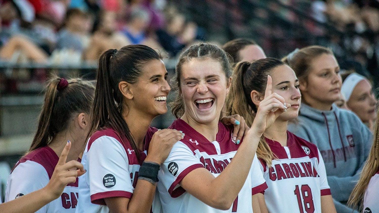 The Gamecocks' Women Soccer Team enjoys a moment before their game against Vanderbilt on Sept. 23, 2021. The Gamecocks won the game.