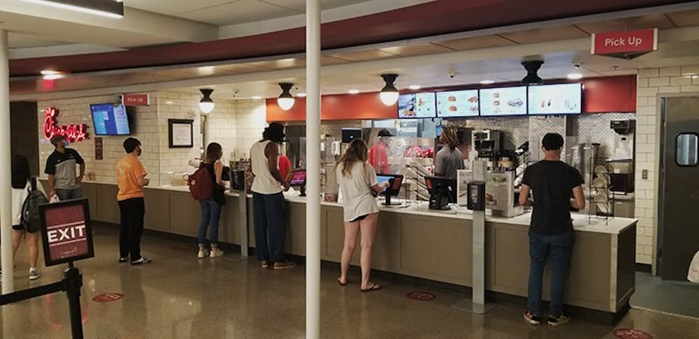 The Chick-fil-A in Russell House. This is one of the most popular eating destinations for students on campus.