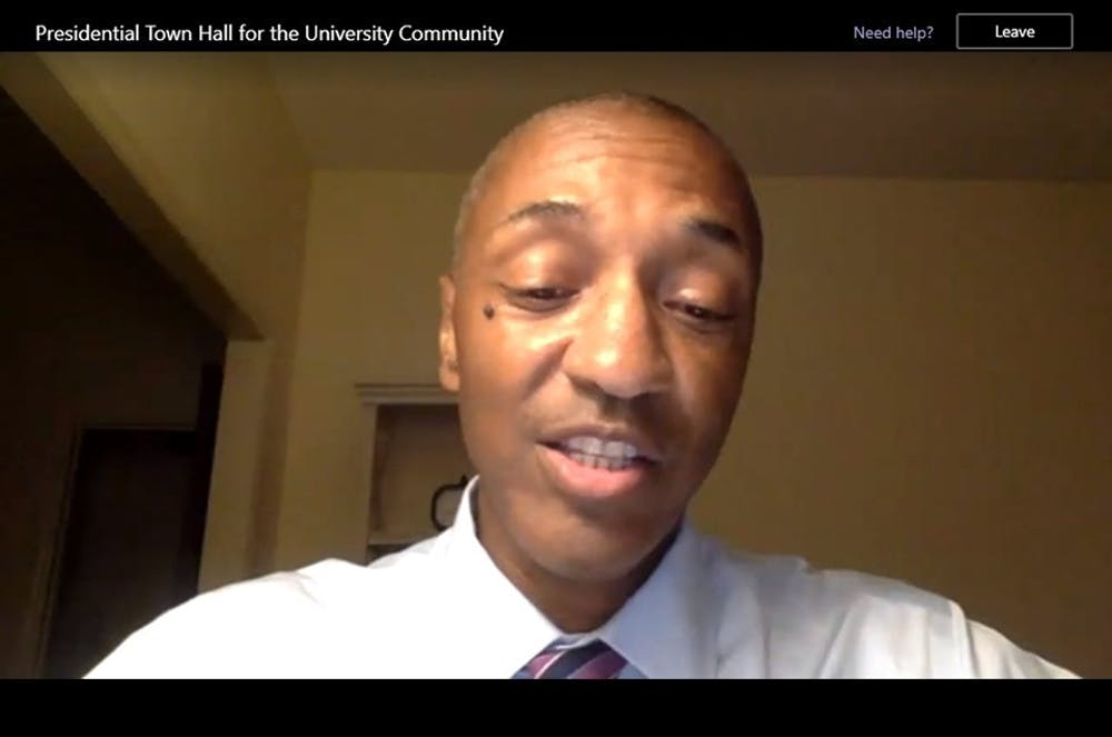 <p>Provost Tate speaks during the virtual town hall.</p>
