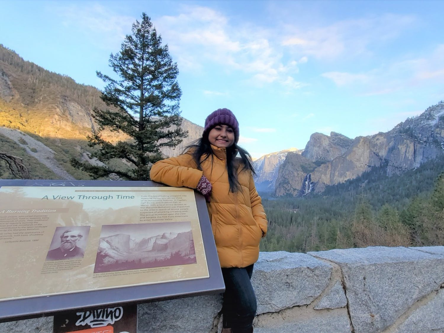 Nowrin Tamanna, a graduate epidemiology student, poses in front of Yosemite Valley.