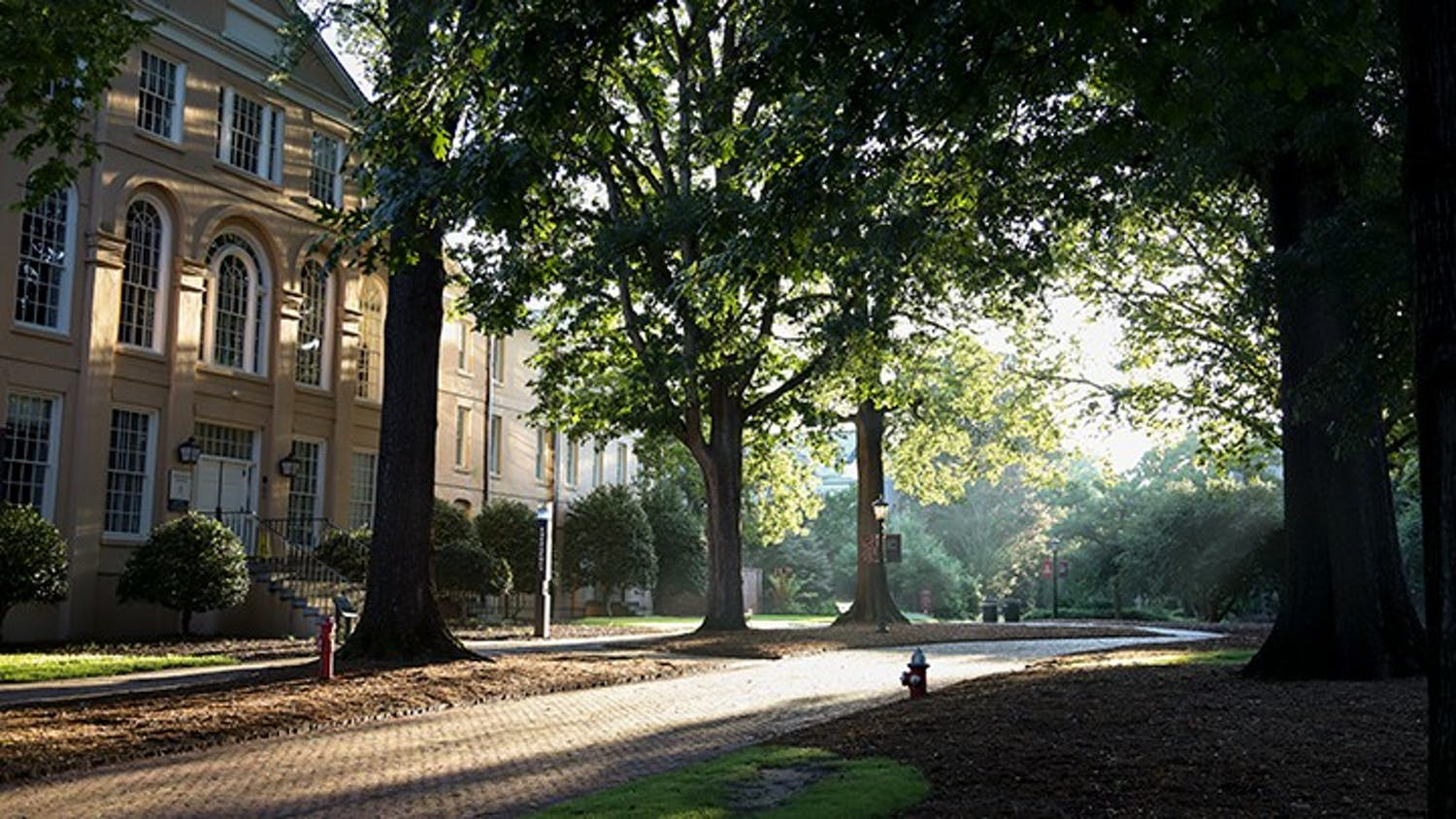 The sun rises on the empty horseshoe over DeSaussure College.