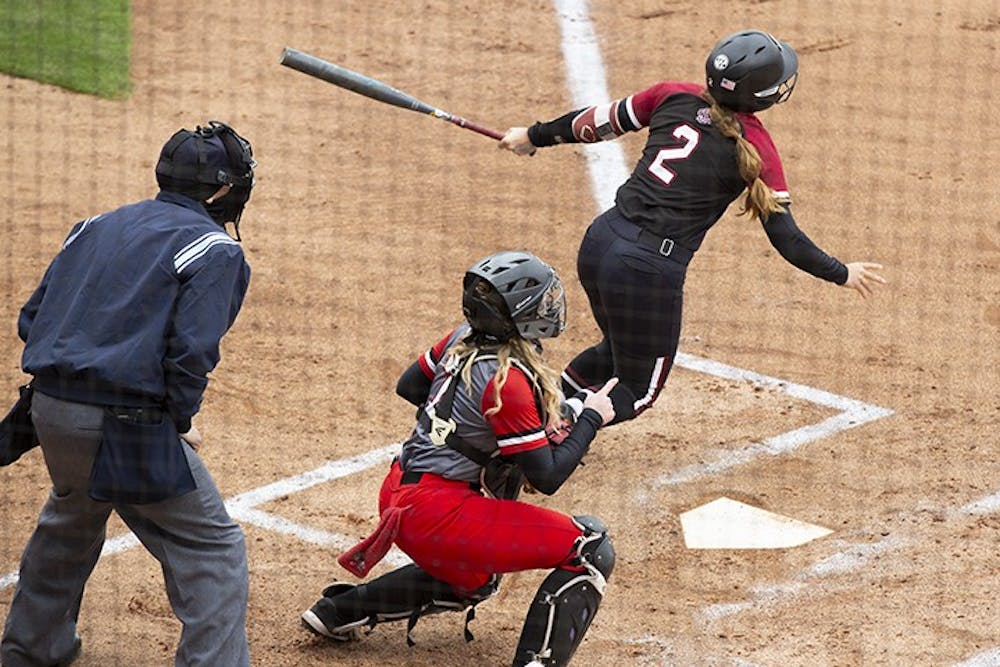 <p>&nbsp;Graduate infielder Kenzi Maguire prepares to run after swinging at a ball from the opposing pitcher. South Carolina won 8-0 against Gardner-Webb University.&nbsp;</p>