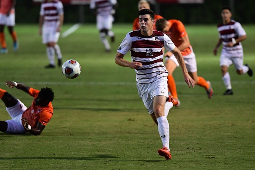 Sophomore forward Brian Banahan chases a ball in Thursday's game against Clemson. The Gamecocks lost 3-0.