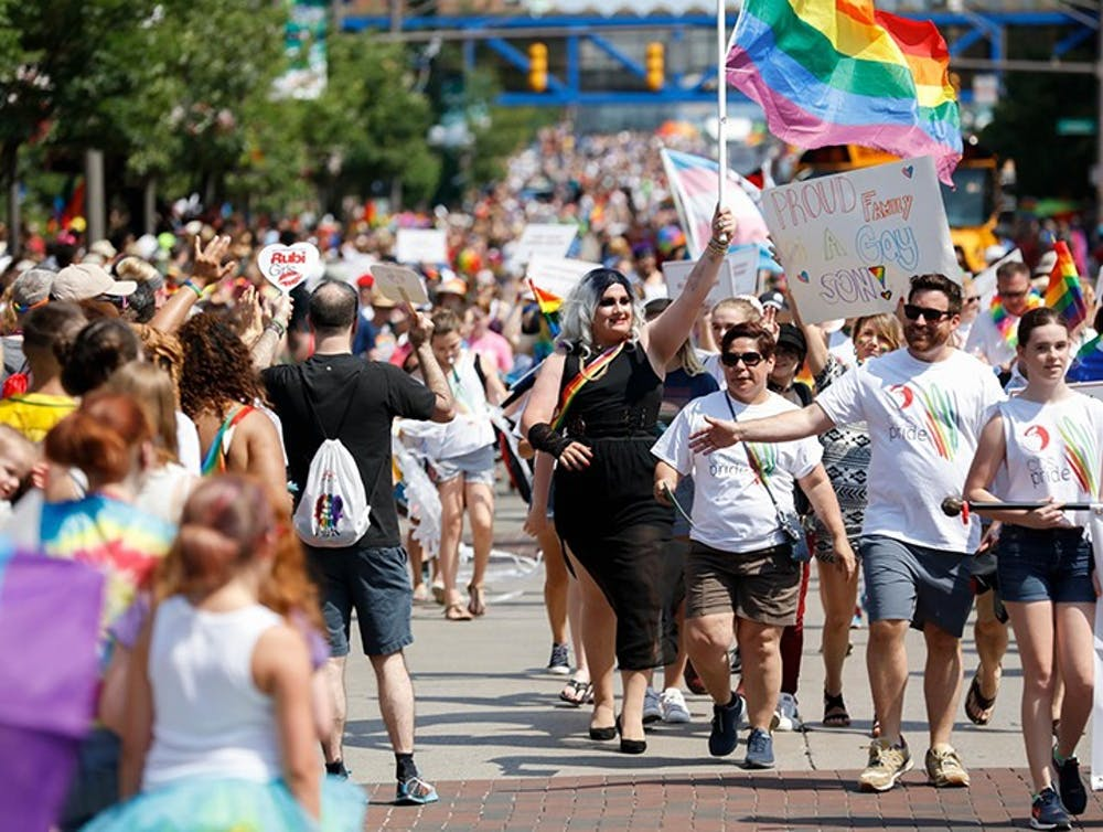 People march at the 2018 Columbus Pride Parade. The public support for gay rights has increased massively in the past 40 years, historical data shows. (The Columbus Dispatch/TNS)