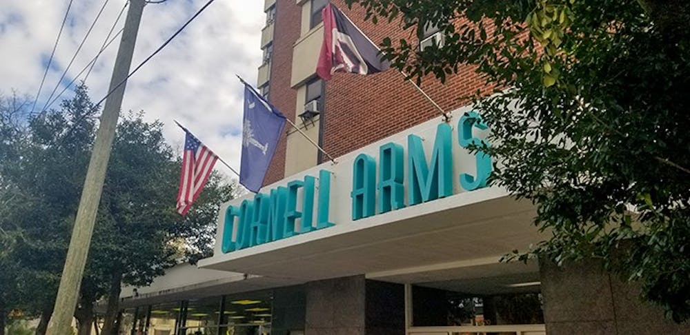 """Cornell Arms Apartments is located just a block away from the Horseshoe on Pendleton Street. The building houses a mix of students, non-students and families."""
