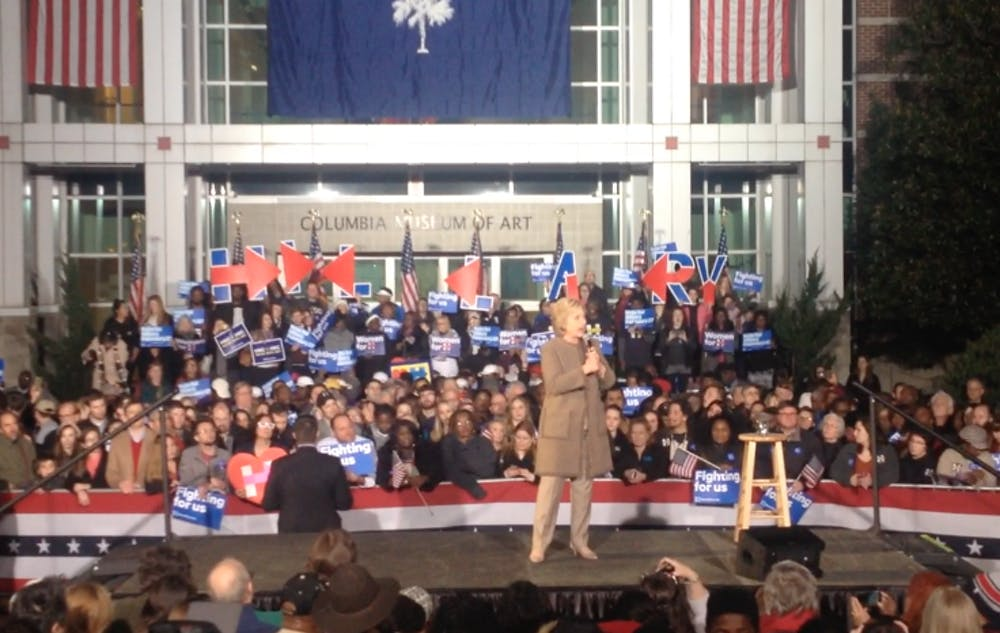 <p>Hillary Clinton campaigned Friday night in downtown Columbia at Boyd Plaza ahead of Saturday's Democratic presidential primary.</p>