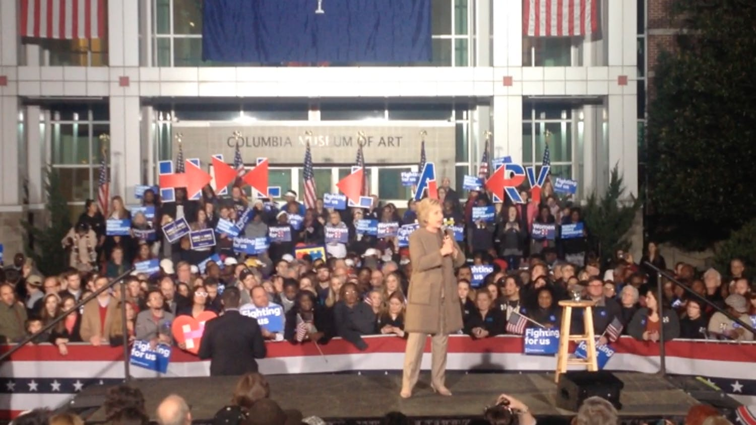Hillary Clinton campaigned Friday night in downtown Columbia at Boyd Plaza ahead of Saturday's Democratic presidential primary.