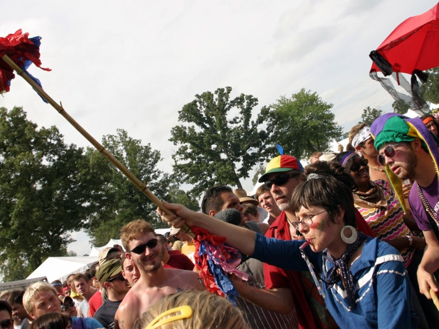 Performance artists march at the Bonnaroo Music and Arts Festival in Manchester, Tennessee, Saturday, June 14, 2008. (Alex Marsh/McClatchy Interactive/MCT)
