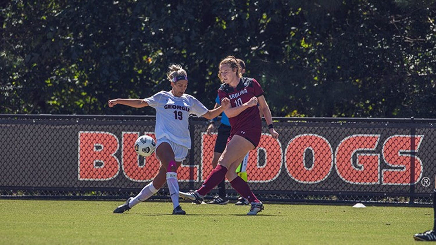 Freshman forward Catherine Barry dribbles around a defender in the 2020 season game against Georgia. Barry is one of eight freshmen on the Gamecocks' roster.