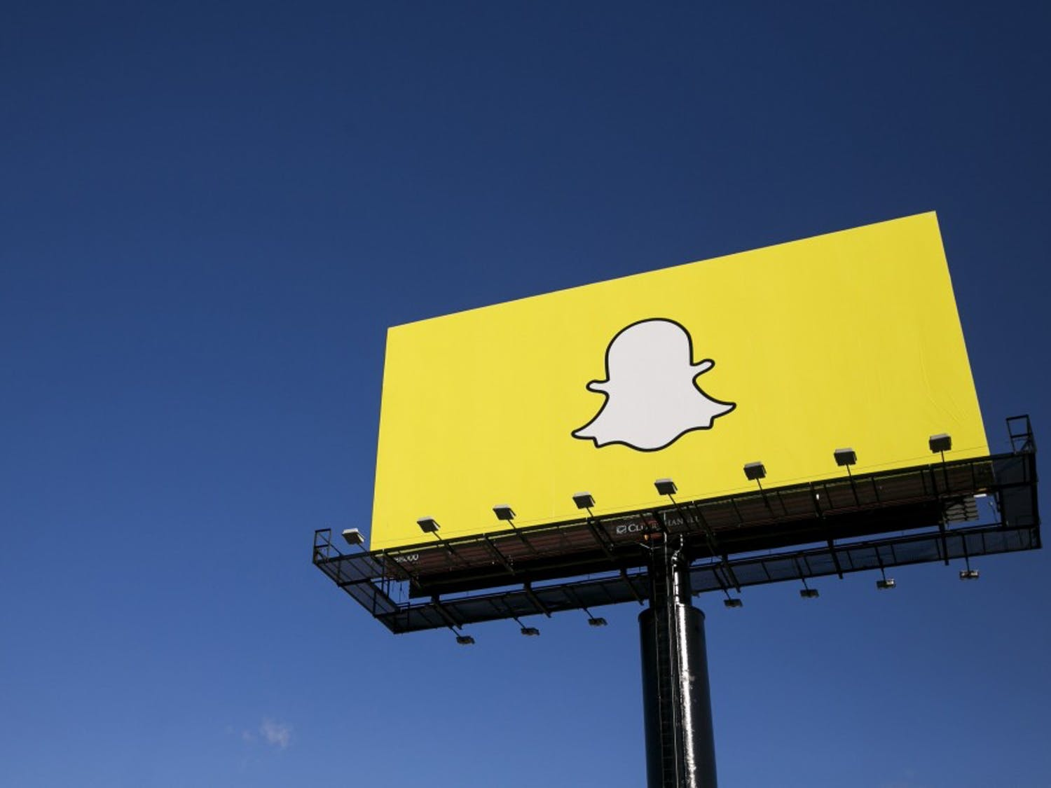 """Snapchat's explanation for its mysterious billboards is as vague as the ads: """"Fun and awareness."""" Above, one of its billboards in Richfield, Minn., in October. (Kristoffer Tripplaar/Sipa USA/TNS)"""