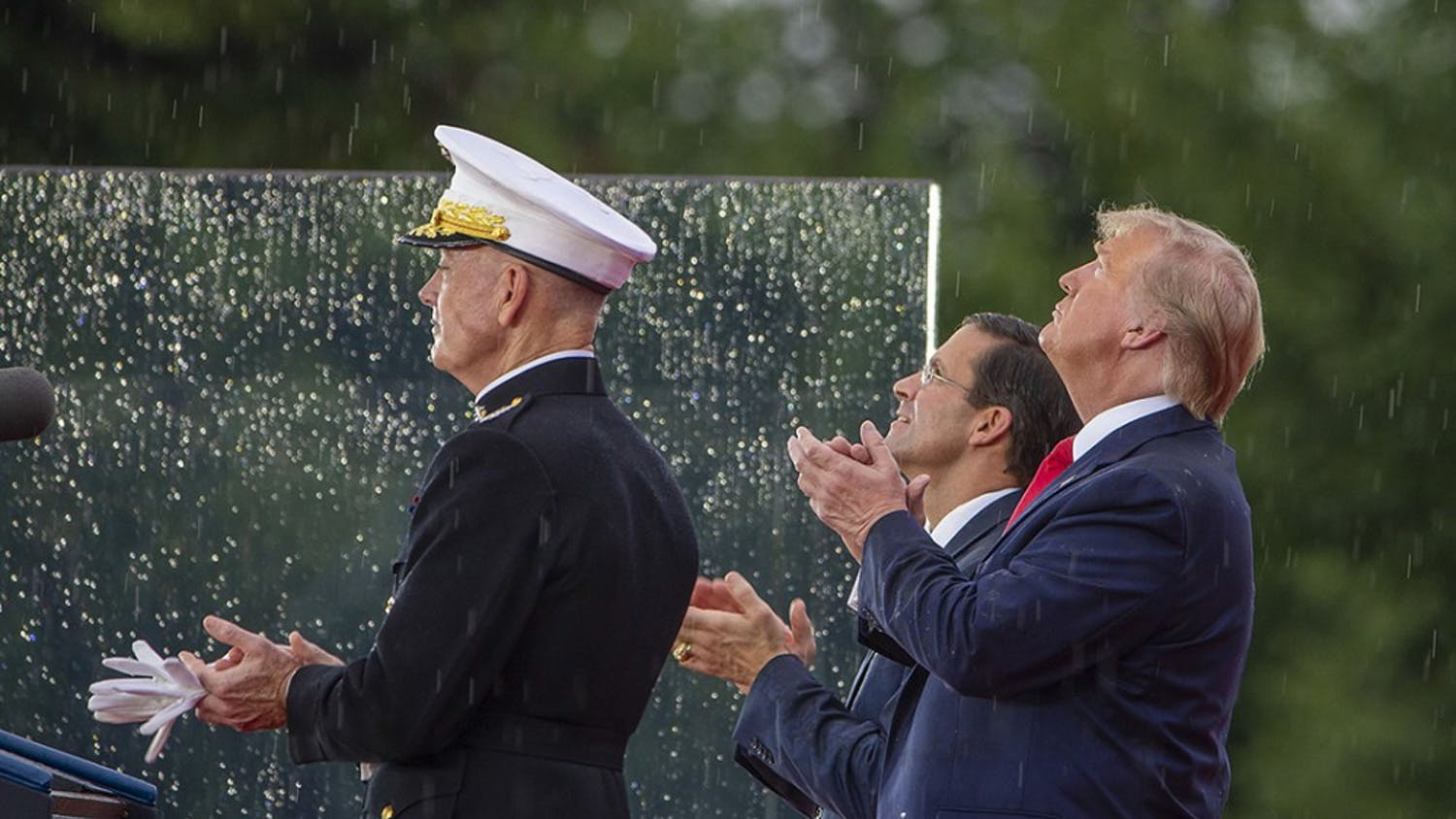 """President Donald Trump watches a flyover on Thursday, July 4, 2019, in Washington, D.C. Trump is holding a """"Salute to America"""" celebration on the National Mall on Independence Day with musical performances, a military displays, and fireworks. (Tasos Katopodis/Getty Images/TNS) **FOR USE WITH THIS STORY ONLY**"""
