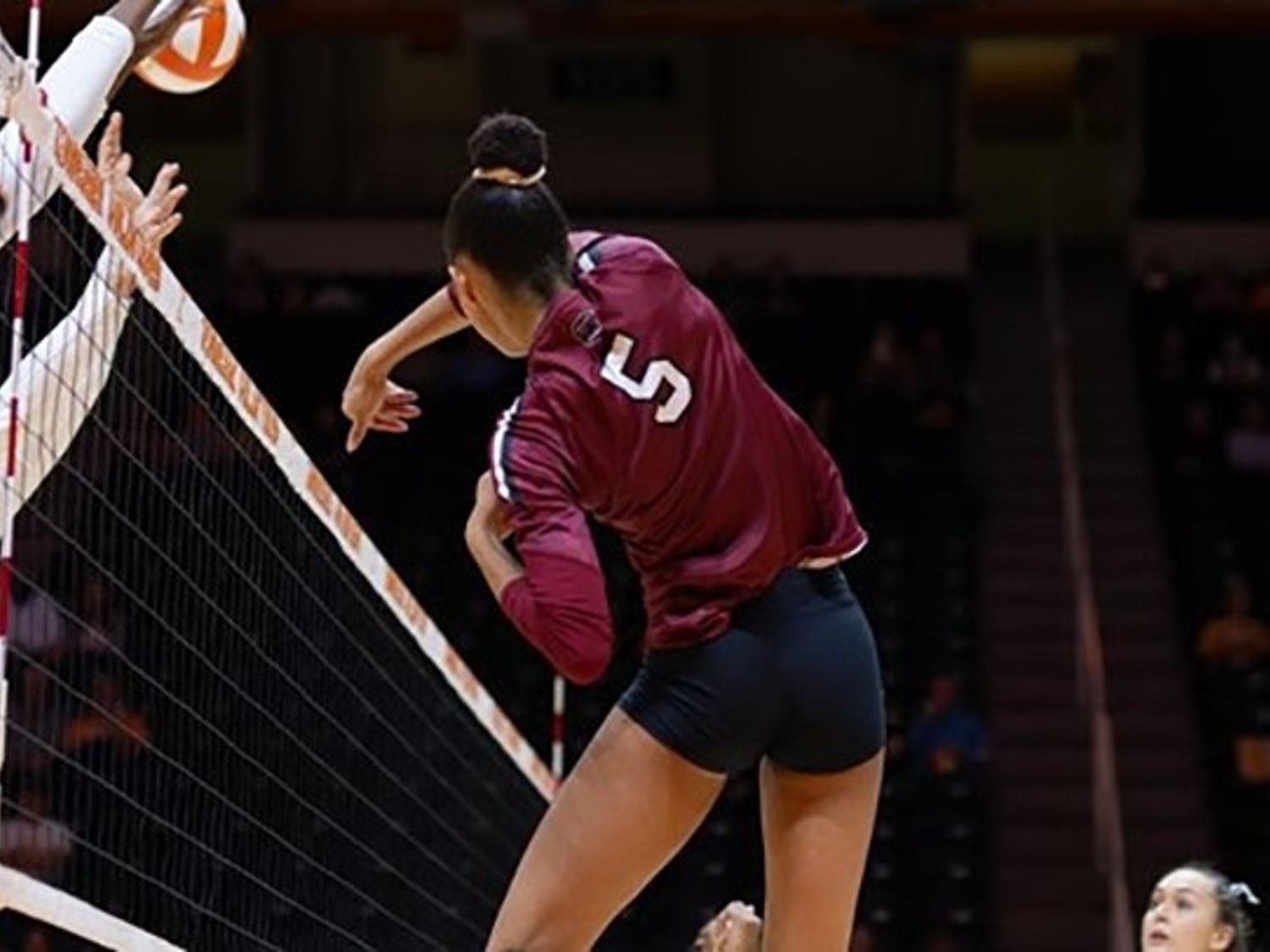Graduate student outside hitter, Kyla Manning, goes up for a hit during the game against Texas A&M. South Carolina lost 3-1.