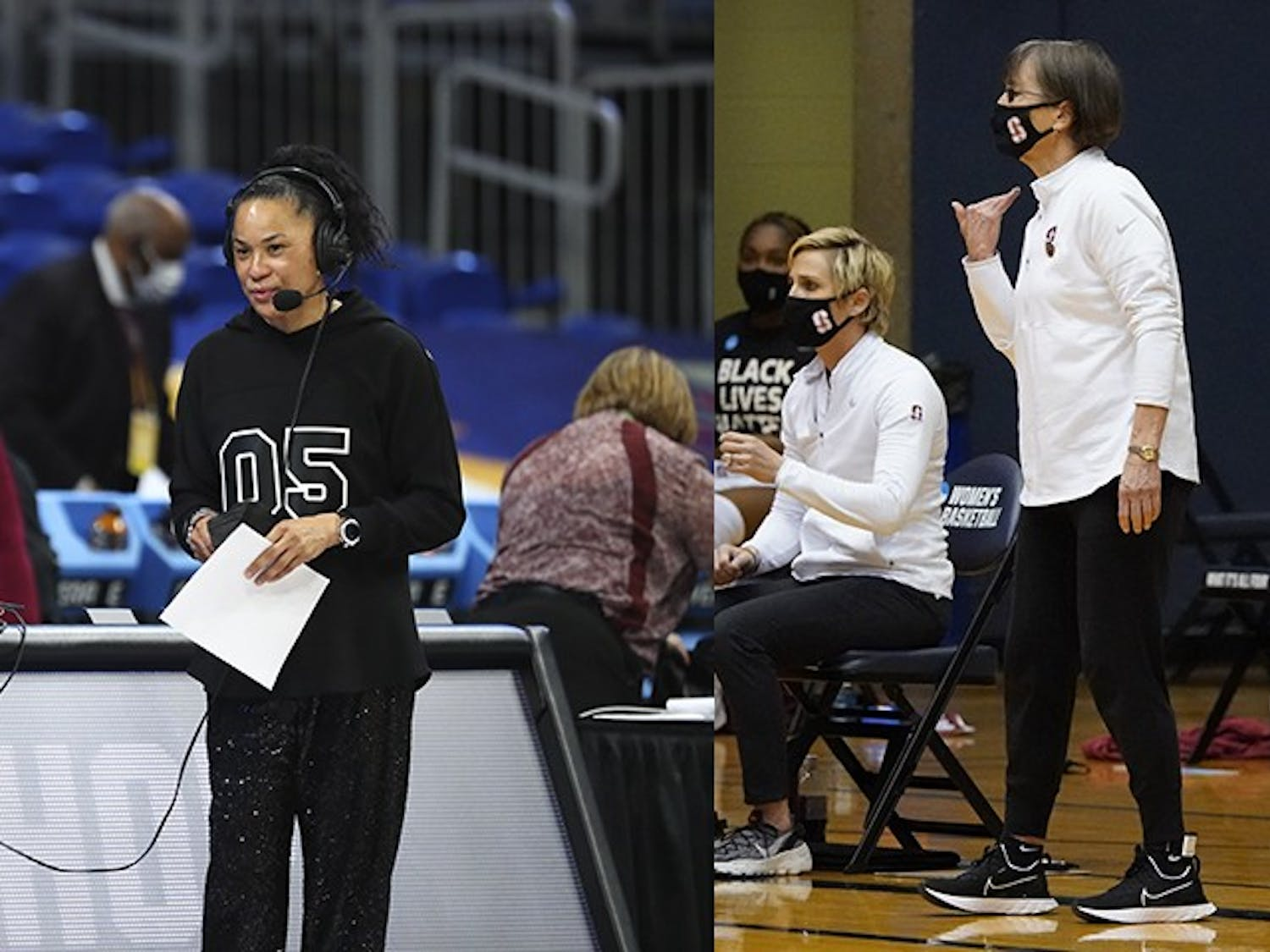 South Carolina head coach Dawn Staley (left) and Stanford head coach Tara VanDerveer (right) coach from the sidelines. The two coaches have a long history of playing each other as both coaches and players.