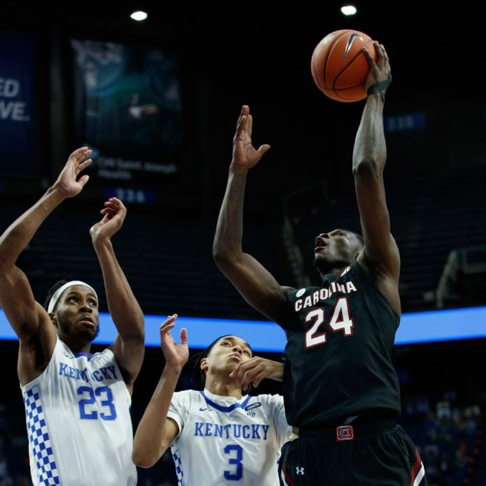 <p>Junior forward Keyshawn Bryant goes for a layup in South Carolina's loss to Kentucky on Saturday. The Gamecocks fell to 6-14 after the loss.</p>