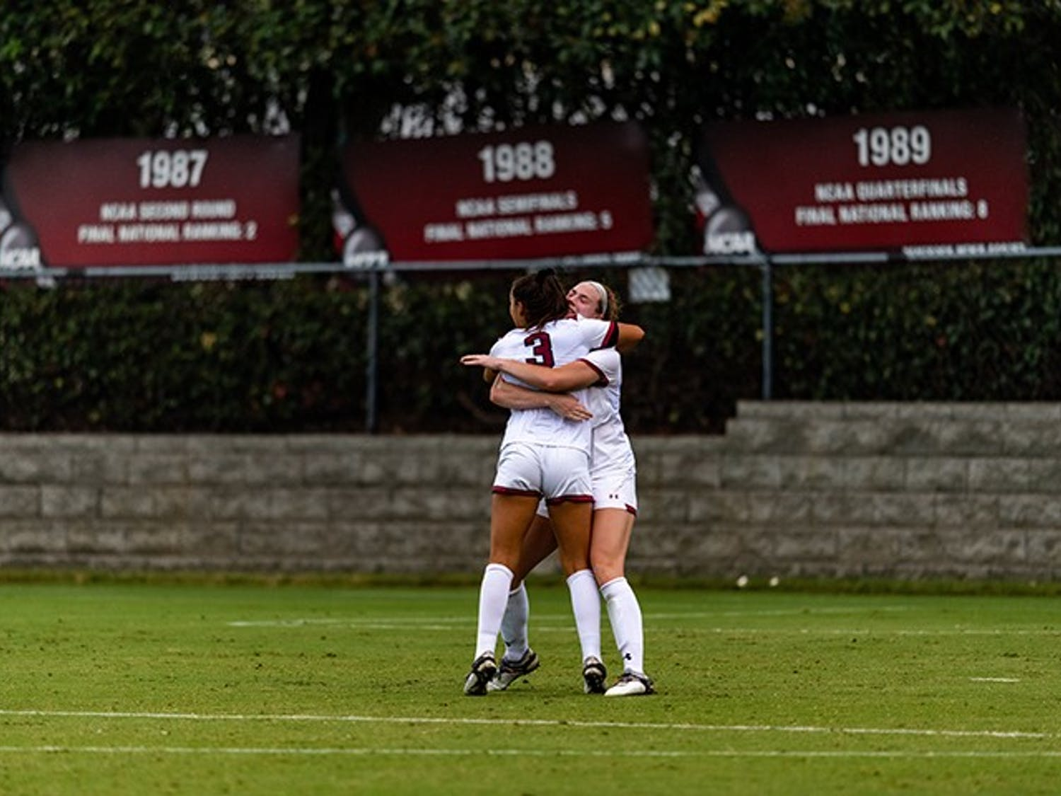 Members of the women's soccer team celebrate after a goal in an earlier 2020 season game against Missouri. The Gamecocks beat the Tigers Tuesday night to advance to the SEC Tournament semifinals.