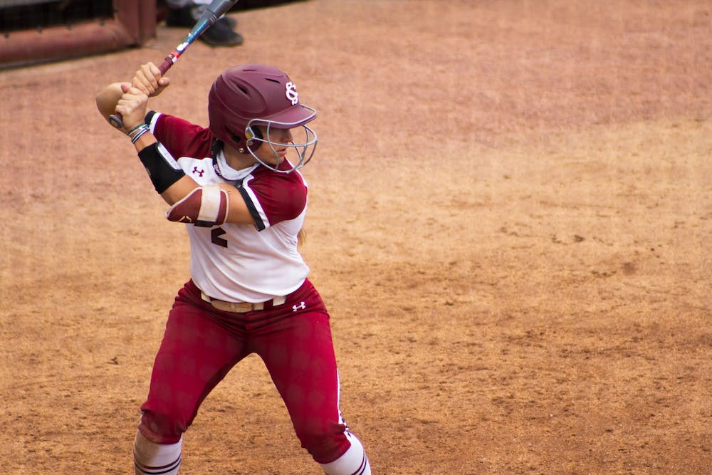 <p>Graduate student infielder Kenzi Maguire prepares to hit a ball pitched by Furmans pitcher on Wednesday, April 14, 2021.</p>