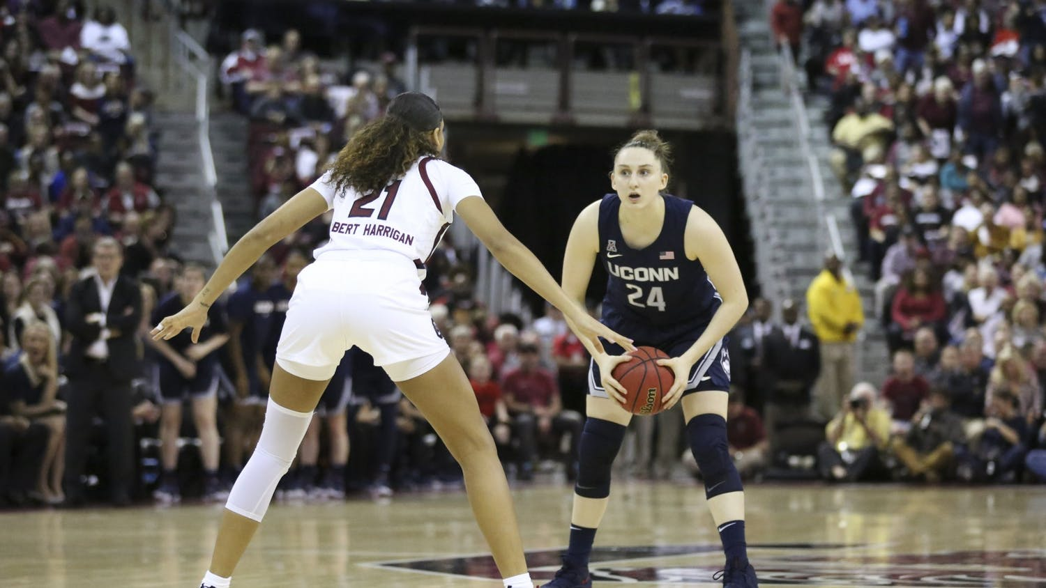 Senior forward Mikiah Herbert Harrigan stands at defense against UConn. This was South Carolina's first victory over UConn in school history.