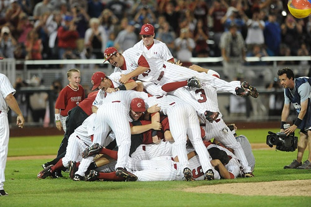 <p>The 2011 baseball team dogpiling the field after winning the college World Series.</p>