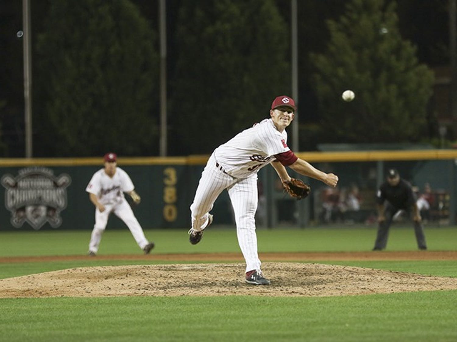 Freshman Cam Tringali pitches the ball during the Friday night game against Auburn at Founders Park.
