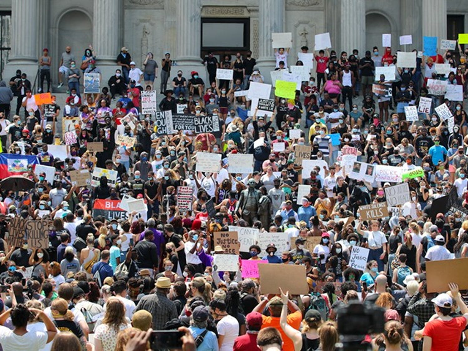 Hundreds of protesters peacefully protested at the Statehouse on May 30. The protestors held a rally on the steps for almost three hours.