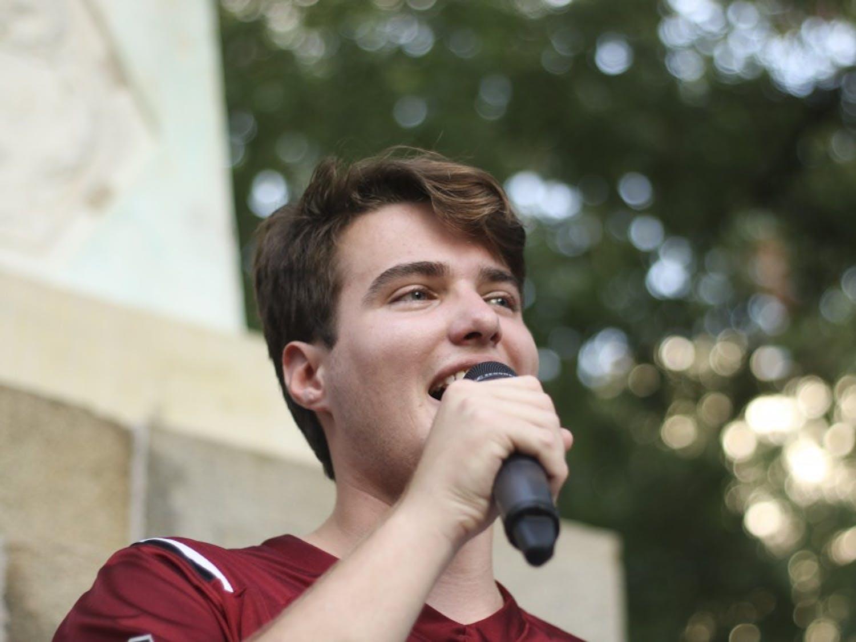 "Student body president Luke Rankin speaks to students at ""First Night Carolina"" on the horseshoe, Wednesday evening."