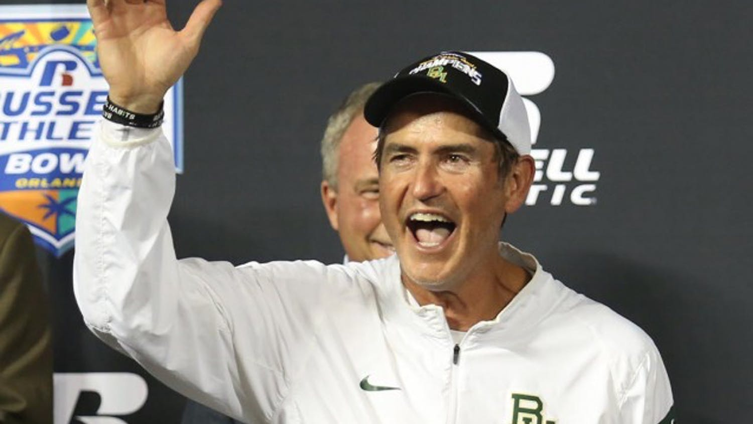 Baylor head coach Art Briles celebrates after winning the Russell Athletic Bowl on Tuesday, Dec. 29, 2015, at the Orlando Citrus Bowl in Orlando, Fla. (Stephen M. Dowell/Orlando Sentinel/TNS)