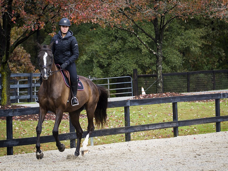 South Carolina junior Louisa Brackett warms up with her horse.