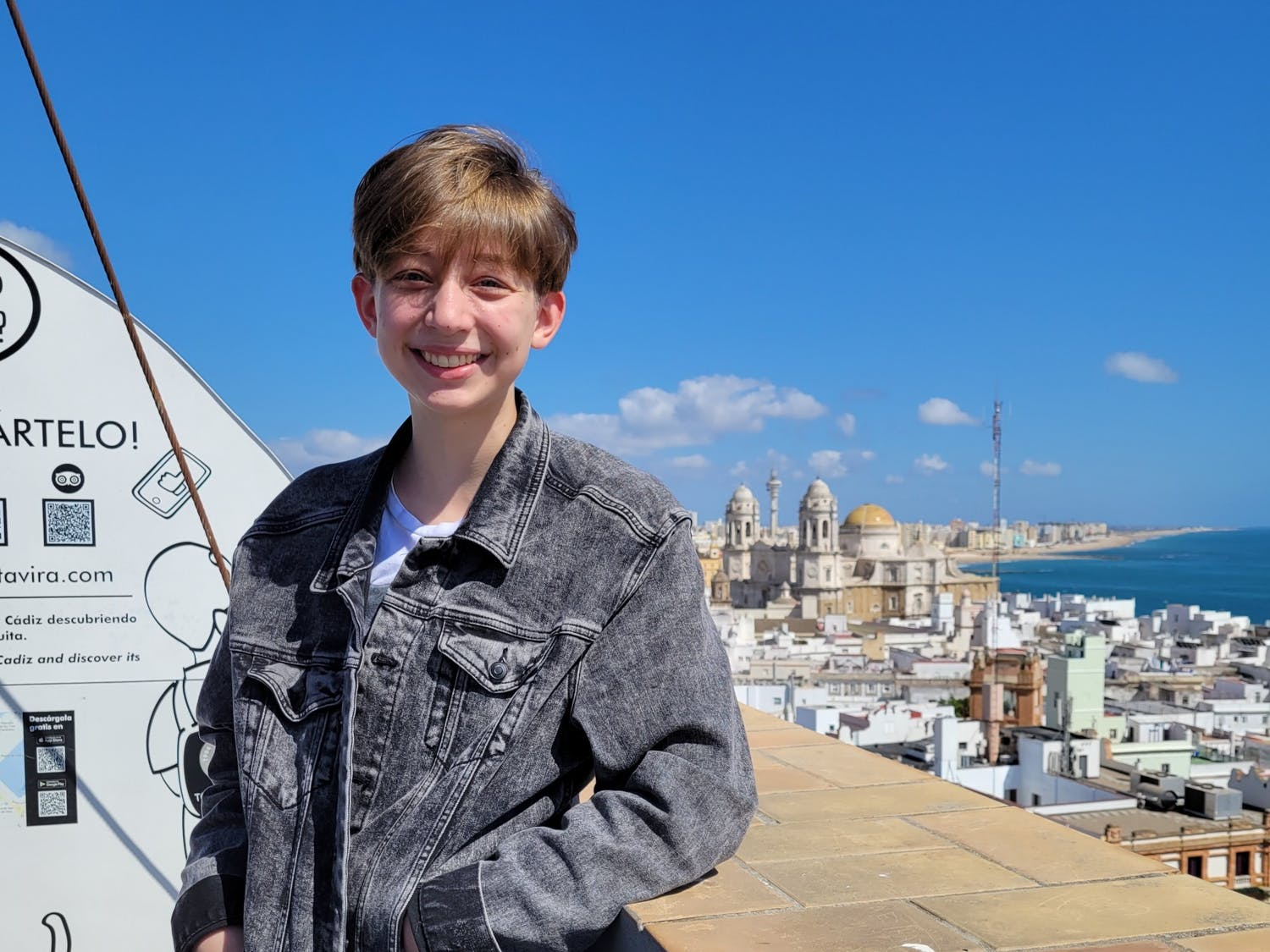 The Daily Gamecock's new editor-in-chief poses for a photo on the rooftop of Torre Tavira in Cádiz, Spain.