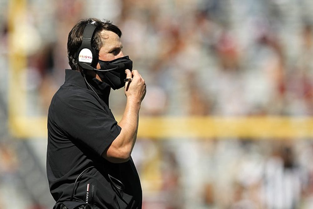 South Carolina head football coach Will Muschamp fixes his mask during the game against Auburn on Saturday, Oct. 17. The Gamecocks will travel to Baton Rouge on Saturday, Oct. 24 to take on the LSU Tigers.