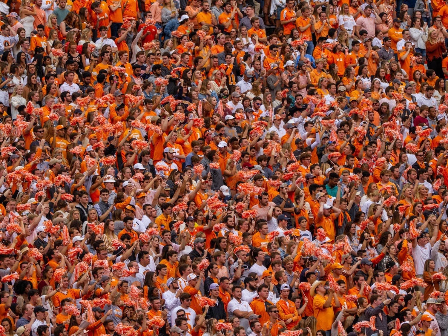 Fans in the student section cheer on the Vols at Neyland Stadium during their game against South Carolina on October 26, 2019.