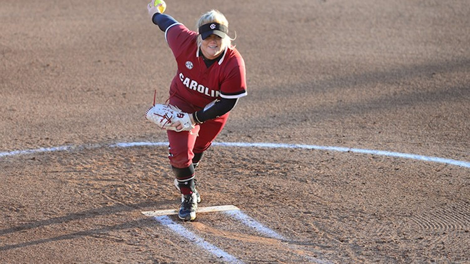 Graduate student pitcher Cayla Drotar winds up to pitch. The Gamecocks will face North Carolina in their season opener on Feb. 12.
