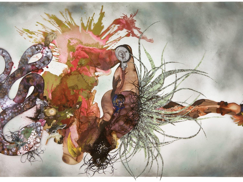 "A painting titled ""Non je ne regrette rien,"" by Wangechi Mutu, 2007."