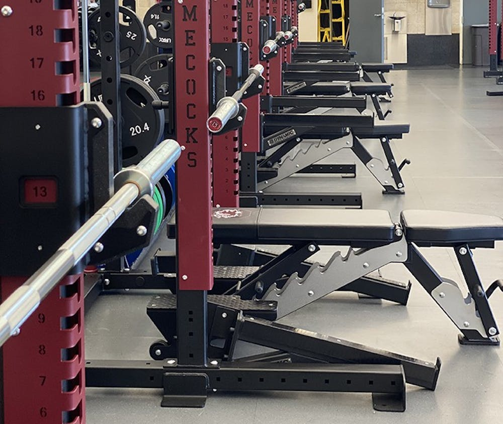 <p>&nbsp;New rows of bench presses and squat racks have been added to the Strom Thurmond Wellness and Fitness Center.&nbsp;</p>