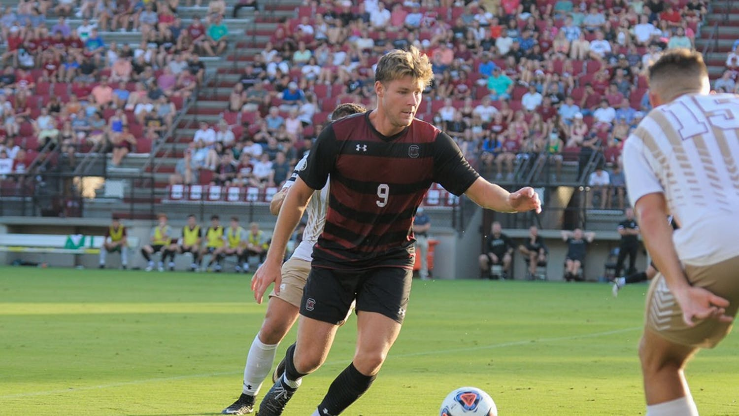 Sophomore defender Christian Kraus receives a pass from a teammate during the season opener against the College of Charleston Cougars. The Cougars beat the Gamecocks 1-0 with a goal during overtime.