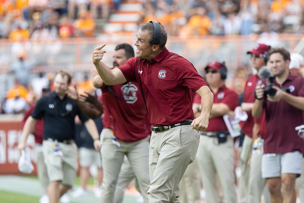 <p>Head coach Shane Beamer substituting a player before a third and goal play for the offense during the fourth quarter against the Volunteers on Oct. 9, 2021. The Gamecocks would go on to fourth before making the third touchdown for the Gamecocks.</p>