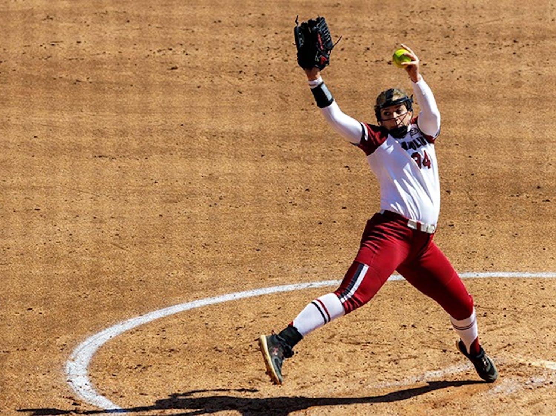 Junior pitcher Rachel Vaughan pitches against a Missouri batter on April 2, 2021.