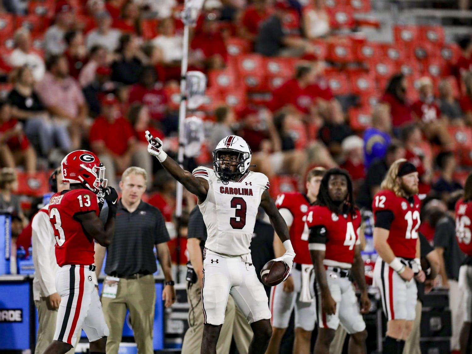 Senior wide receiver Jalen Brooks celebrates a one-handed catch in the fourth quarter of South Carolina's game against Georgia on Sept. 18, 2021.
