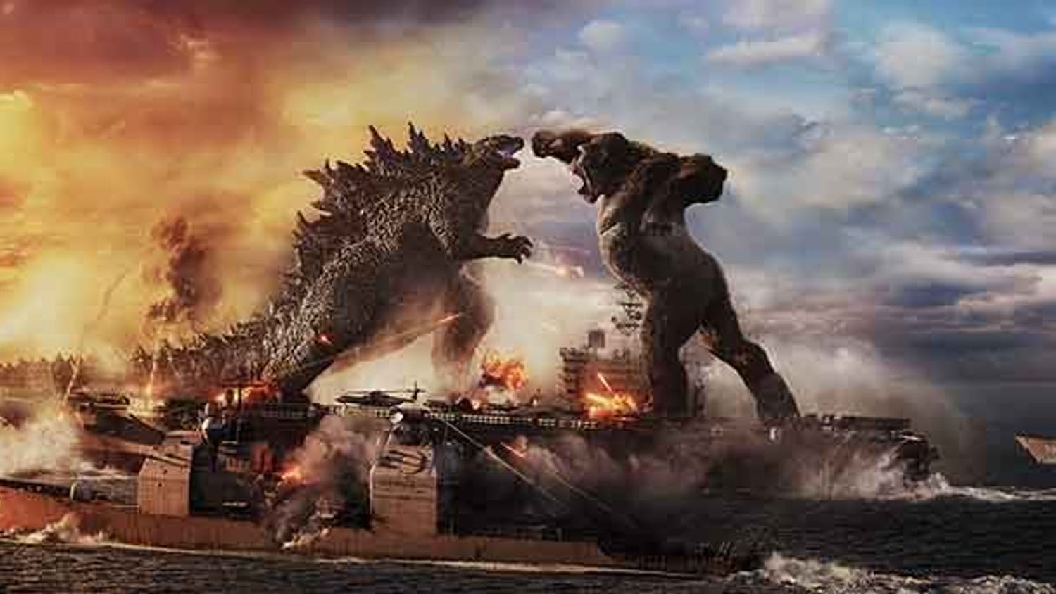 "Godzilla battles Kong in Warner Bros. Pictures' and Legendary Pictures' action-adventure ""Godzilla vs. Kong."""