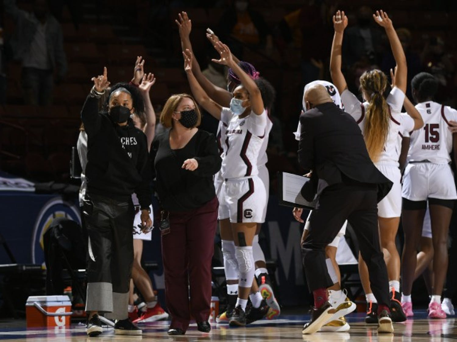 The South Carolina women's basketball team celebrates after a win in the 2021 NCAA tournament.