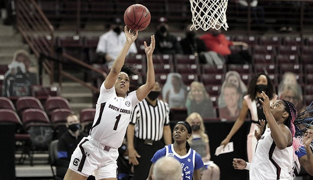 <p>Sophomore guard Zia Cooke shoots the ball. South Carolina won against Kentucky 76-55, bouncing back from the team's loss against Tennessee.</p>
