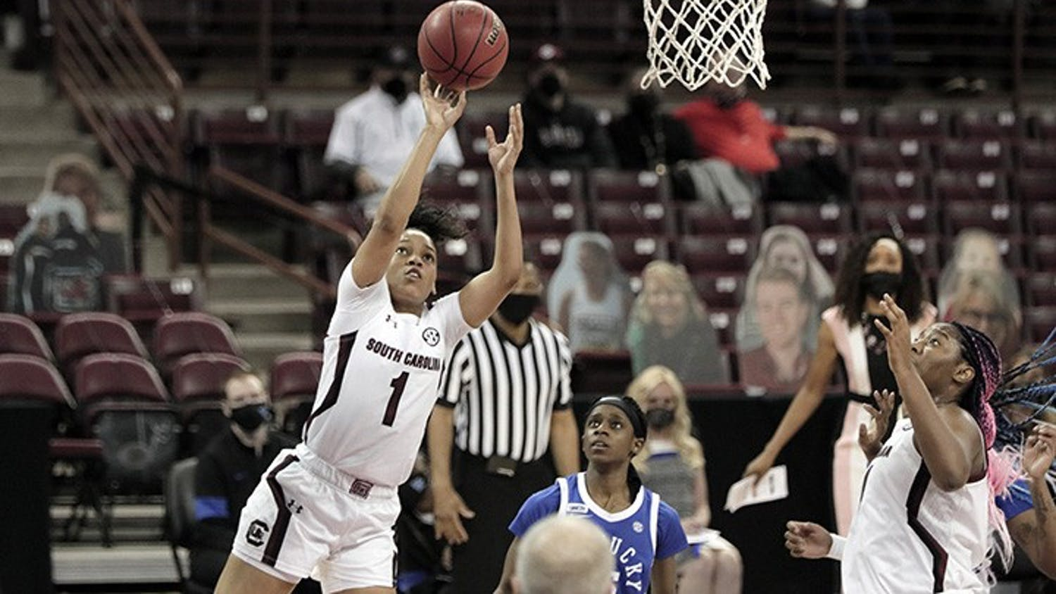 Sophomore guard Zia Cooke shoots the ball. South Carolina won against Kentucky 76-55, bouncing back from the team's loss against Tennessee.