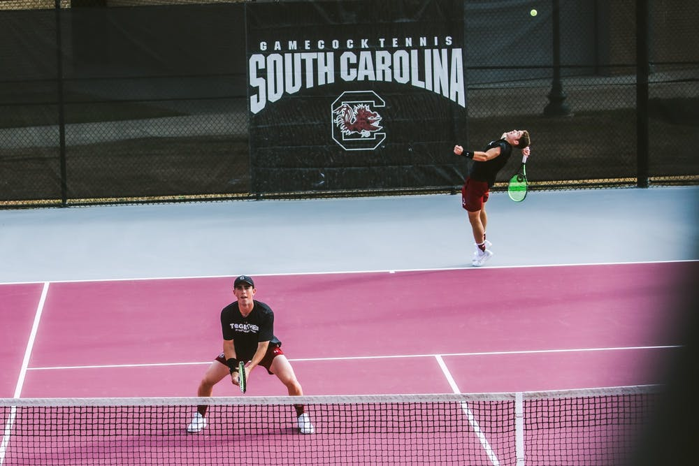 Gamecock men's tennis players Daniel Rodrigues and Connor Thomson.