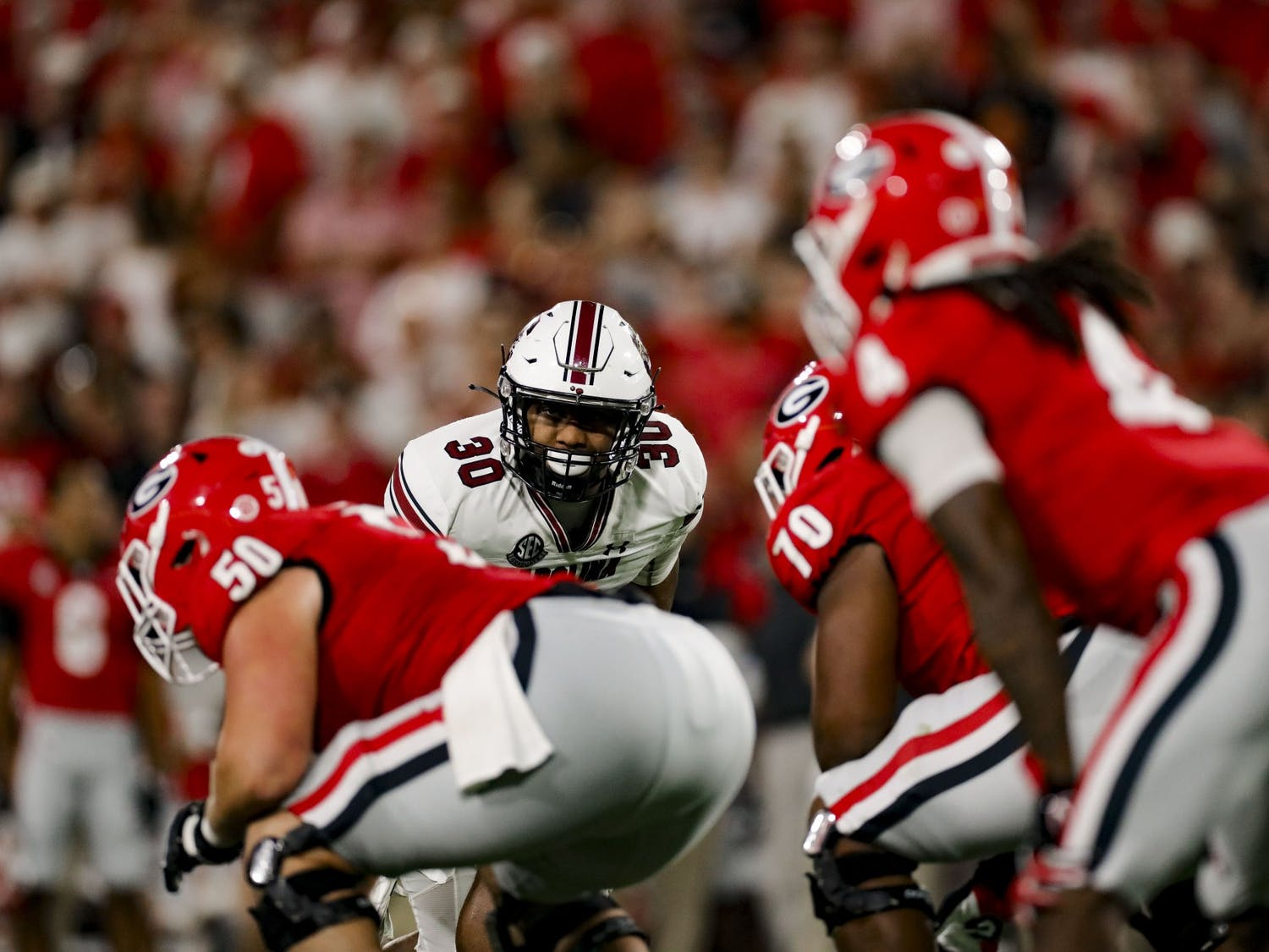 Fifth-year linebacker Damani Staley observes Georgia's offense before a play in South Carolina's game against Georgia on Sept. 18, 2021.