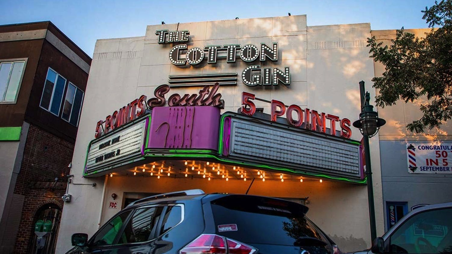 The street view of The Cotton Gin, in the early evening hours when it would normally be bustling with college students. The Cotton Gin is one of several bars in Five Points that has experienced a shift in customer demographics after legislation passed that sought to limit underage drinking and general chaos in the area.