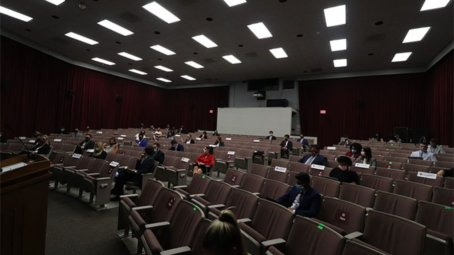 Student senate is held in the Russell House Theater. The chairs within the theater are marked to follow campus guidelines regarding COVID-19.