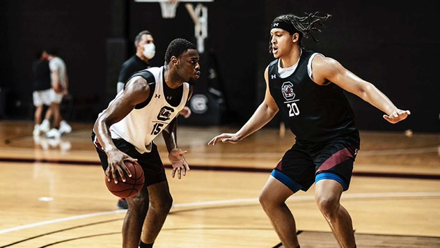 Junior Alanzo Frink guards sophomore Wildens Leveque during the first men's basketball practice of the season on Oct. 14. The Southeastern Conference is set to begin on Dec. 29.